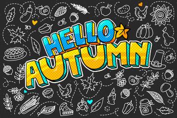 Hello autumn message in pop art style.