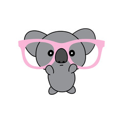 Koala vector illustration, geek animal kawaii