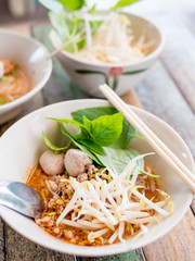 Thai style spicy Tomyam noodle soup