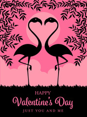Happy Valentines day card template with Silhouette flamingos and branch on pink background vector design
