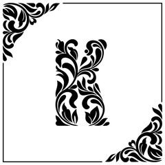 The letter K. Decorative Font with swirls and floral elements. Vintage style