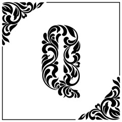 The letter Q. Decorative Font with swirls and floral elements. Vintage style
