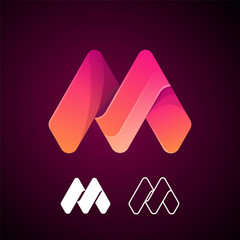 Vector abstract letter M logo template. Material design, origami paper, flat style