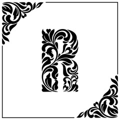 The letter R. Decorative Font with swirls and floral elements. Vintage style
