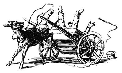 Esel wirft Karren um und befreit sich - Donkey frees himself