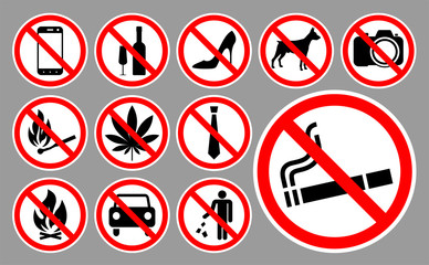 Prohibition signs set. Vector illustration.