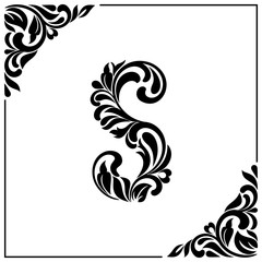 The letter S. Decorative Font with swirls and floral elements. Vintage style