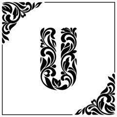 The letter U. Decorative Font with swirls and floral elements. Vintage style
