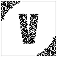 The letter V. Decorative Font with swirls and floral elements. Vintage style
