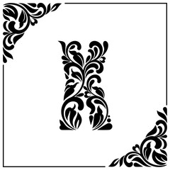 The letter X. Decorative Font with swirls and floral elements. Vintage style