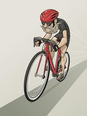 Cartoon bearded cyclist rides a bicycle