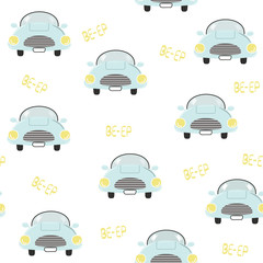 Cute blue car seamless pattern. Vector hand drawn illustration.