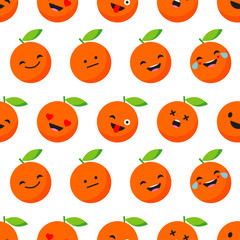 Seamless background with Cheerful Oranges. Cute cartoon. Vector illustration. Textile rapport.