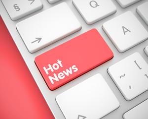 Hot News - Inscription on Red Keyboard Keypad. 3D.