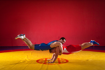 Two young men in blue and red wrestling tights make a warm-up for the wrestling in the sports wrestling hall