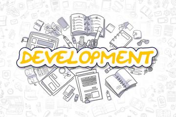 Development - Cartoon Yellow Word. Business Concept.