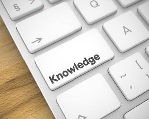 Knowledge - Inscription on White Keyboard Keypad. 3D.