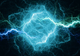Blue plasma lightning, electrical storm abstract