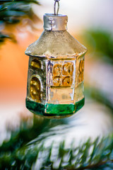 Macro shot of a vintage Christmas ornament.