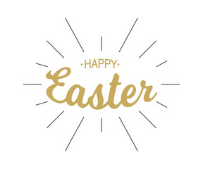 Happy Easter gold typographic calligraphic lettering with black rays isolated on white background. Retro holiday easter badge. Religious holiday sign. Vector illustration