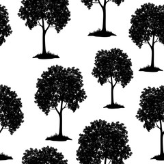 Seamless Pattern, Chestnut Tree, Black Silhouette Isolated on Tile White Background. Vector