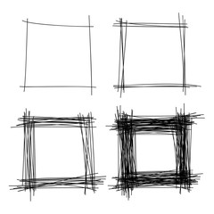 Set of Hand Drawn Scribble Squares. Vector design elements