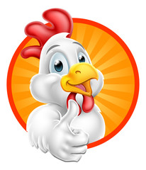 Chicken Cartoon Character Giving Thumbs Up