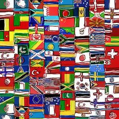 Sketchy World Flag Montage
