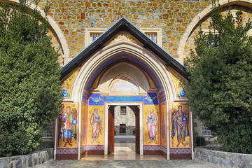 ancient Kykkos Monastery (1081) ornated by icons mosaic, Cyprus