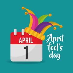 april fools day calendar jester hat poster vector illustration