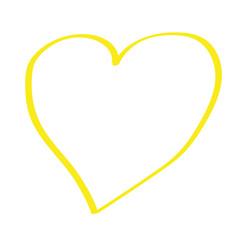 Handgezeichnetes Herz in gelb