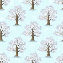 Seamless Pattern, Oak Tree, Season Winter, on Tile White and Blue Background. Vector