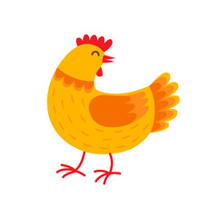 Orange hen cartoon character vector flat illustration. Hen in flat design isolated on white background.