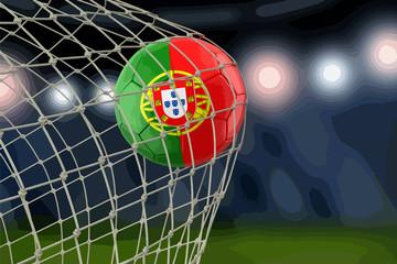 Portuguese soccerball in net