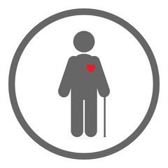 Old man silhouette with walking stick and red heart on his body. Valentines Day celebration in nursing home. Vector icon.