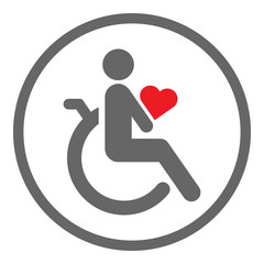 Disabled person in wheelchair holding red heart in his hands. Valentines Day celebration by handicapped man. Vector icon.