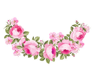 Spring flowers bouquet of red rose garland. Vector illustration.