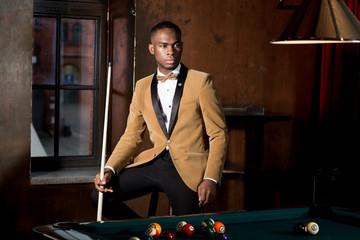 Handsom Man playing Billiard