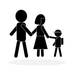Simple family icon in black and white; symbol of child going to school with parents. Isolated on white background. Flat design for use in website, logo, app, UI, art. Vector illustration, EPS 10.
