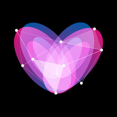 Isolated unusual abstract glass vector symbol of purple, blue and violet color heart. Colorful love logo of Saint Valentines Day with lines and dots on black background.