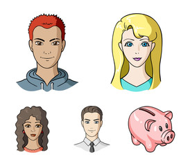 Different looks of young people.Avatar and face set collection icons in cartoon style vector symbol stock illustration web.