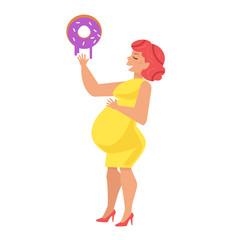 Fat woman eat donut