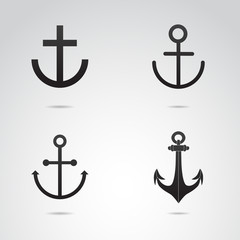 Anchor vector icon set.