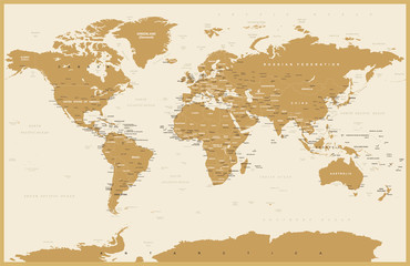 Political Vintage World Map Vector