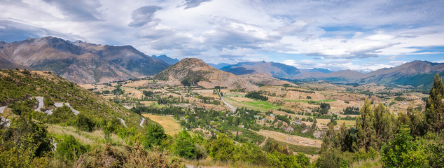 Beautiful Panoramic view on the Crown Range Scenic Road in New Zealand