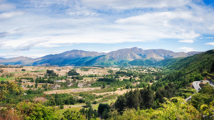 The View from Arrow Junction, a Scenic Lookout on the Crown Range Road in New Zealand.