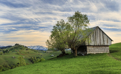 Rural farm with old wooden hut at sunset near Bran, Transylvania