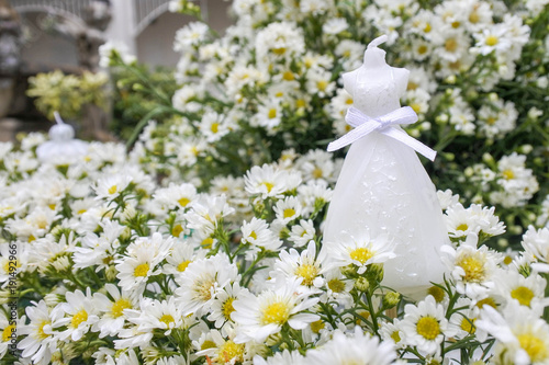 White Wedding Dress Candle Put In The Cutter Flower Luxury And Beautiful For