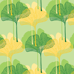 Hand drawn ginkgo leaves overlap vector pattern in green and yellow colors palette