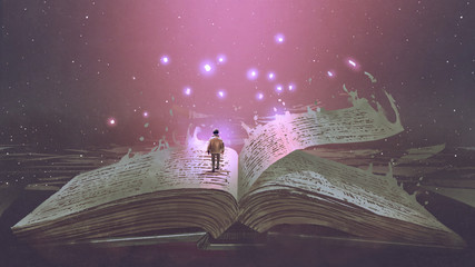 Photo sur Plexiglas Grandfailure Boy standing on the opened giant book with fantasy light, digital art style, illustration painting
